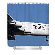 Boeing 747-400 Of Thai International Shower Curtain