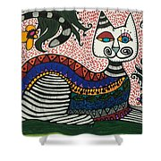 Boho Cat And Flowers Shower Curtain