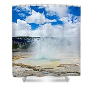 Boiling Point - Geyser Eruption In Yellowstone National Park Shower Curtain