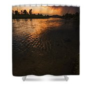 Boise River Dramatic Sunset Shower Curtain