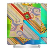 Bold Geometric Abstract  Shower Curtain