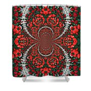 Tulips Kaleidoscope - Red And Green Shower Curtain
