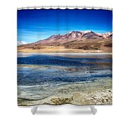 Bolivia Desert Lake Framed Shower Curtain