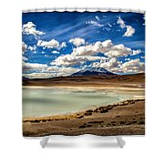 Bolivia Lagoon Clouds Framed Shower Curtain