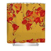 Bollywood Colors Awesome Paisley World Map Shower Curtain