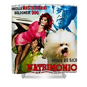 Bolognese Dog Art - Matrimonio All Italiana Movie Poster Shower Curtain