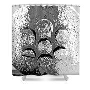 Bolted Silver Shower Curtain