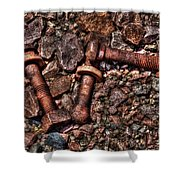 Bolts In Gravel Shower Curtain
