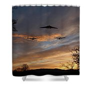Bombers Pass By  Shower Curtain