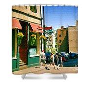 Bonaparte 4 Star Classic French Resto Vieux Montreal Paris Style Bistro Paintings Carole Spandau Art Shower Curtain