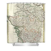Bonne Map Of Poitou Touraine And Anjou France Shower Curtain