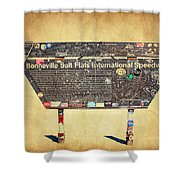 Bonneville Salt Flats Sign Shower Curtain