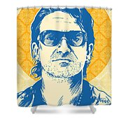 Bono Pop Art Shower Curtain by Jim Zahniser