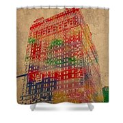 Book Cadillac Iconic Buildings Of Detroit Watercolor On Worn Canvas Series Number 3 Shower Curtain by Design Turnpike