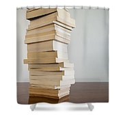 Book Stack On Table Shower Curtain