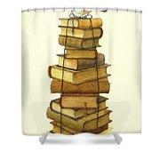 Books And Little Bird Shower Curtain