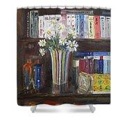 Bookworm Bookshelf Still Life Shower Curtain