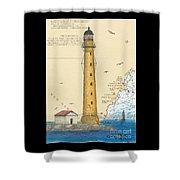 Boon Island Lighthouse Me Chart Art Cathy Peek Shower Curtain