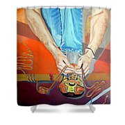 Bootlace Shower Curtain by Daniel Janda
