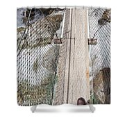 Boots On Narrow Swing Bridge Over White Water Shower Curtain