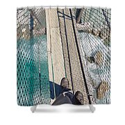 Boots On Swing Bridge Over Troubled White Water Shower Curtain