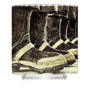 Boots On The Ground Monotone Shower Curtain by Joan Carroll