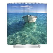 Bora Bora White Boat Shower Curtain