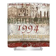 Bordeaux Blanc Label 2 Shower Curtain by Debbie DeWitt