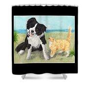 Border Collie Dog Orange Tabby Cat Art Shower Curtain