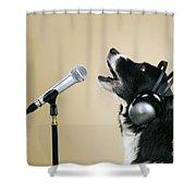 Border Collie Dog Singing Shower Curtain