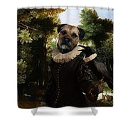 Border Terrier Art Canvas Print Shower Curtain