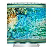 Borderized Abstract Ocean Print Shower Curtain