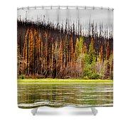 Boreal Forest At Yukon River Destroyed By Fire Shower Curtain