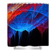 Borealis - Blue And Red Abstract Shower Curtain