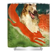 Borzoi Art - Hunting In The Ussr Poster Shower Curtain