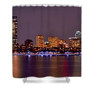 Boston Back Bay Skyline At Night Color Panorama Shower Curtain