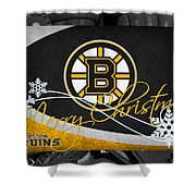Boston Bruins Christmas Shower Curtain