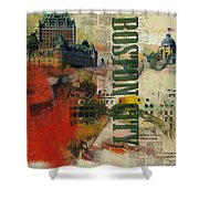 Boston Collage Shower Curtain by Corporate Art Task Force