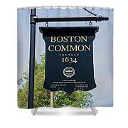 Boston Common Park Sign, Boston, Ma Shower Curtain