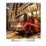 Boston Fire Truck  Shower Curtain