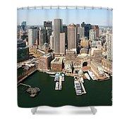 Boston Harbor And Boston Skyline Shower Curtain