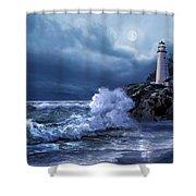 Boston Harbor Lighthouse Moonlight Scene Shower Curtain
