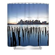 Boston Harbor Skyline With Ica Shower Curtain by Juergen Roth