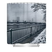 Boston Longfellow Bridge-snow Cityscape Shower Curtain