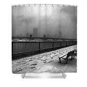 Boston Longfellow Bridge-snow Cityscape V3 Shower Curtain
