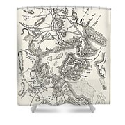 Boston: Map, 1775-1776 Shower Curtain
