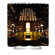 Boston - Night At Post Office Square Shower Curtain