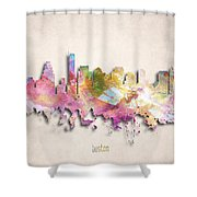 Boston Painted City Skyline Shower Curtain