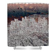 Boston Panorama Abstract 3 Shower Curtain