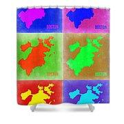 Boston Pop Art Map 3 Shower Curtain by Naxart Studio